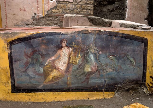 A fresco on an ancient counter depicting a nymph riding a horse uncovered during excavations in Pompeii, Italy, is seen in this handout picture released December 26, 2020
