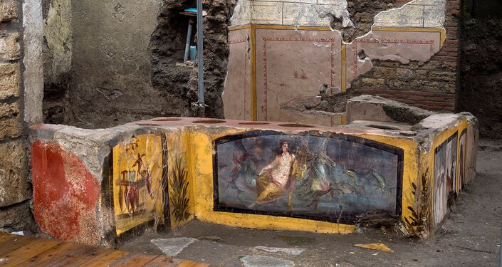 A fresco on an ancient counter depicting a nymph riding a horse uncovered during excavations in Pompeii, Italy, is seen in this handout picture released December 26, 2020.