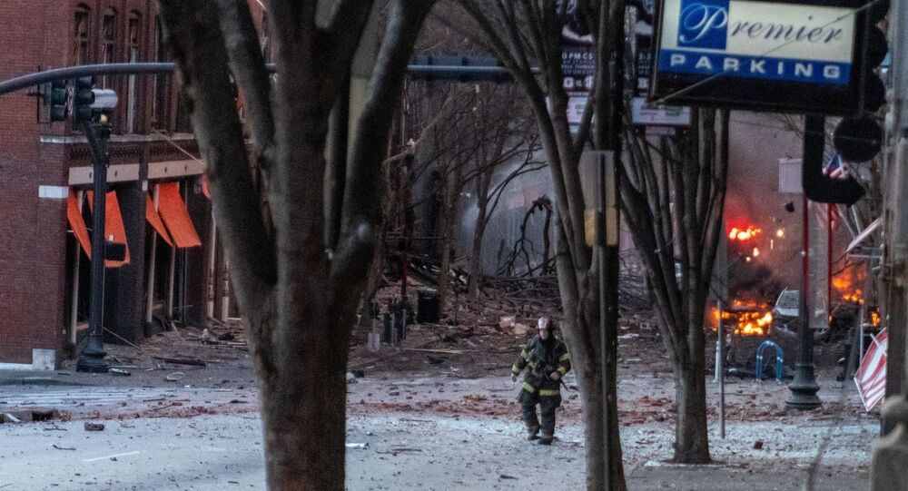 Debris litters the road near the site of an explosion in the area of Second and Commerce in Nashville, Tennessee, U.S. December 25, 2020.