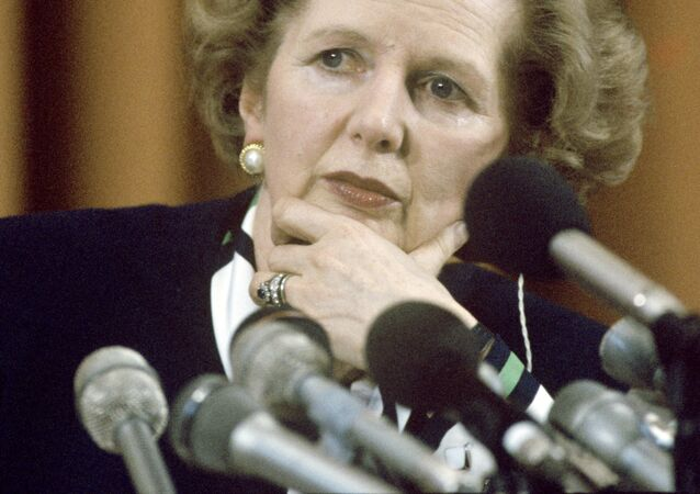 British Prime Minister Margaret Thatcher at a press conference during an official visit to the USSR.