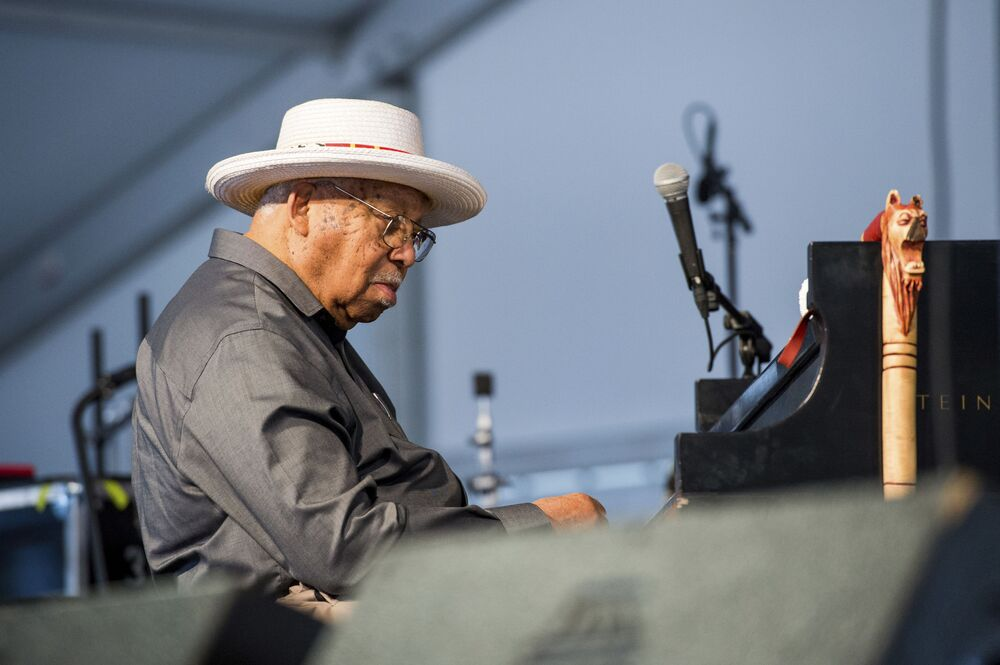 Ellis Marsalis performs at the New Orleans Jazz and Heritage Festival on 7 May 2017 in New Orleans.