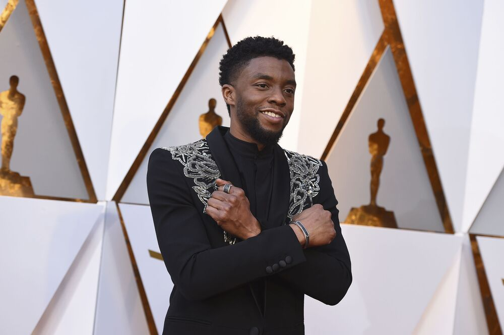 Chadwick Boseman arrives at the Oscars on Sunday, 4 March 2018, at the Dolby Theatre in Los Angeles.