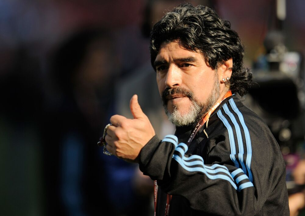 Argentina's head coach Diego Maradona before a 2010 FIFA World Cup group match against Nigeria.
