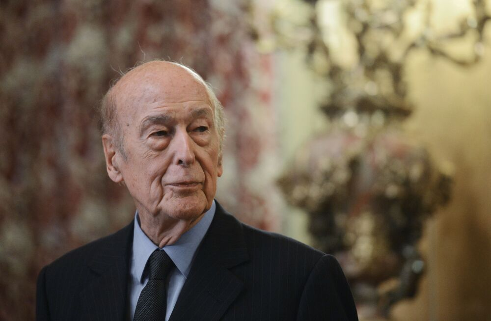 Former French President Valerie Giscard d'Estaing at the presentation of his book The Victory of the Great Army in Moscow.