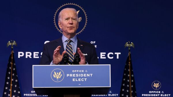U.S. President-elect Joe Biden delivers remarks on national security and foreign policy at his transition headquarters in Wilmington, Delaware, U.S. December 28, 2020.  - Sputnik International