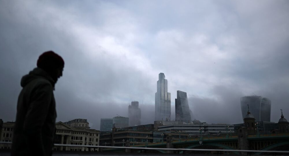 Fog covers the financial district of London, Britain, 28 December 2020