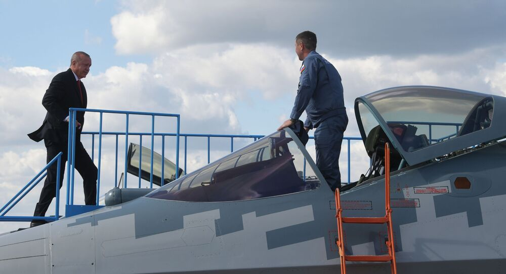 Turkish President Recep Tayyip Erdogan inspects the Russian multipurpose Su-57 fighter during a visit to the MAKS-2019 International Aviation and Space Salon, 27 August 2019
