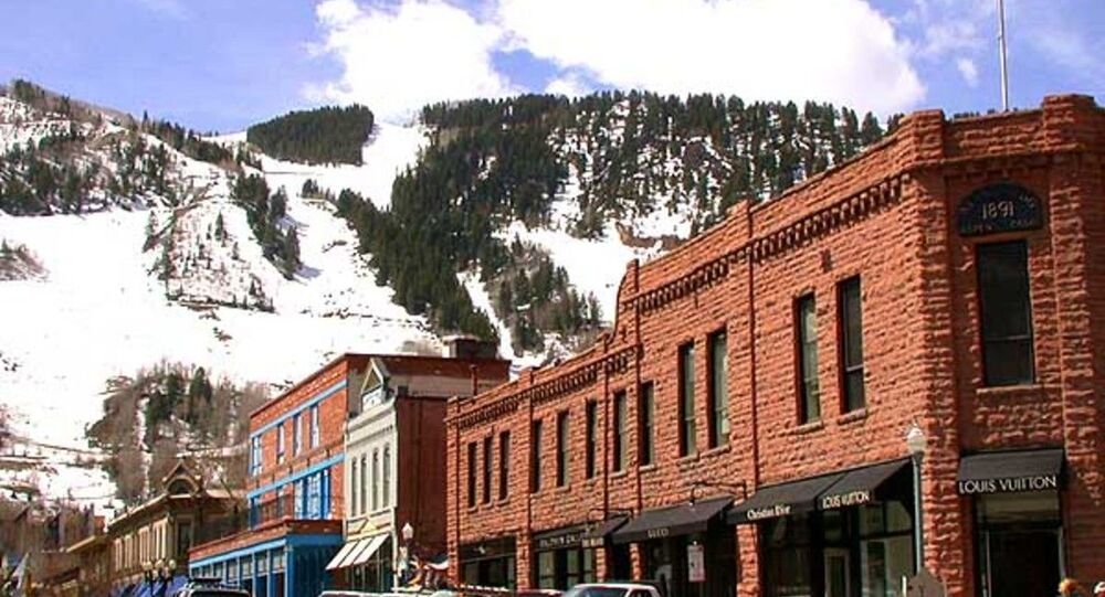 View of downtown Aspen, Colorado, showing Aspen Mountain in the background. April 27, 2005.