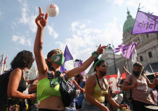 Demonstrators protest in favour of legalizing abortion outside the National Congress in Buenos Aires, Argentina, December 29, 2020.