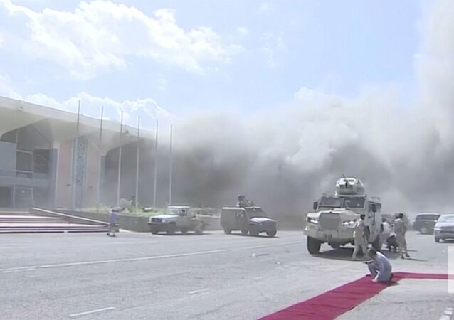 Dust rises after explosions hit Aden airport, upon the arrival of the newly-formed Yemeni government in Aden, Yemen December 30, 2020. Al Arabiya/Reuters TV/via REUTERS THIS IMAGE HAS BEEN SUPPLIED BY A THIRD PARTY. NO RESALES. NO ARCHIVES. MUST NOT OBSCURE LOGO.