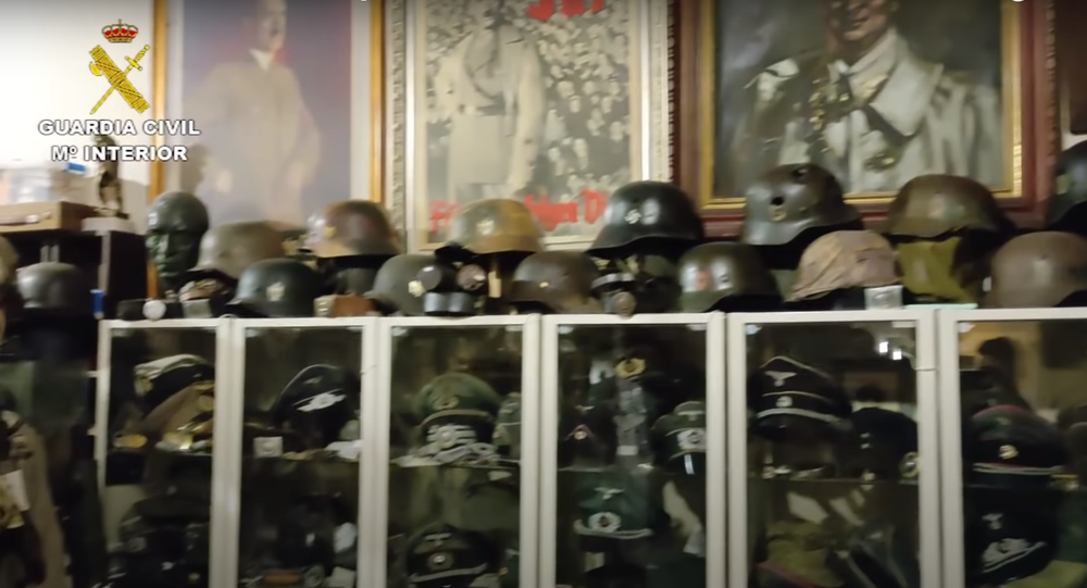Huge stash of Nazi-era items found in drug and arms bust in Spain. Screengrab of Guardia Civil video.