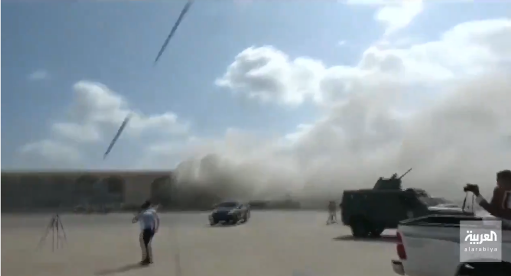 Screengrab of alleged footage of attack on Aden Airport.