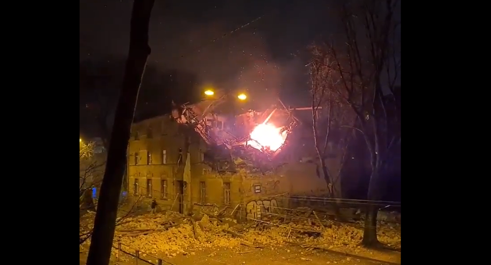 Screenshot from the video allegedly showing the aftermath of the explosion in the residential building in Riga