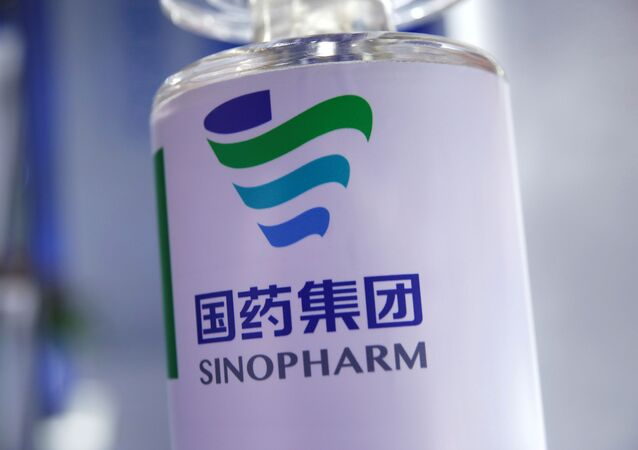 A signage of Sinopharm is seen at the 2020 China International Fair for Trade in Services (CIFTIS), following the COVID-19 outbreak, in Beijing, China September 5, 2020.