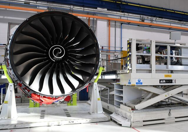 Rolls Royce Trent XWB engines, designed specifically for the Airbus A350 family of aircraft, are seen on the assembly line at the Rolls Royce factory in Derby, November 30, 2016.