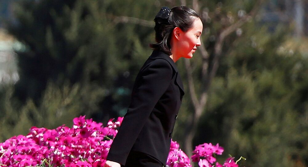 Kim Yo-jong, sister of North Korean leader Kim Jong-un, attends the opening ceremony of a newly constructed residential block in Ryomyong street in Pyongyang, North Korea 13 April 2017.