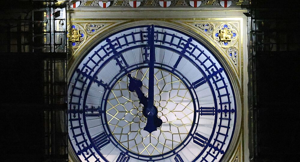 A clockface of the Elizabeth Tower at the Houses of Parliament, more commonly known as Big Ben, shows 2300 GMT, as Britain formally exits the EU, in London, Britain December 31, 2020.