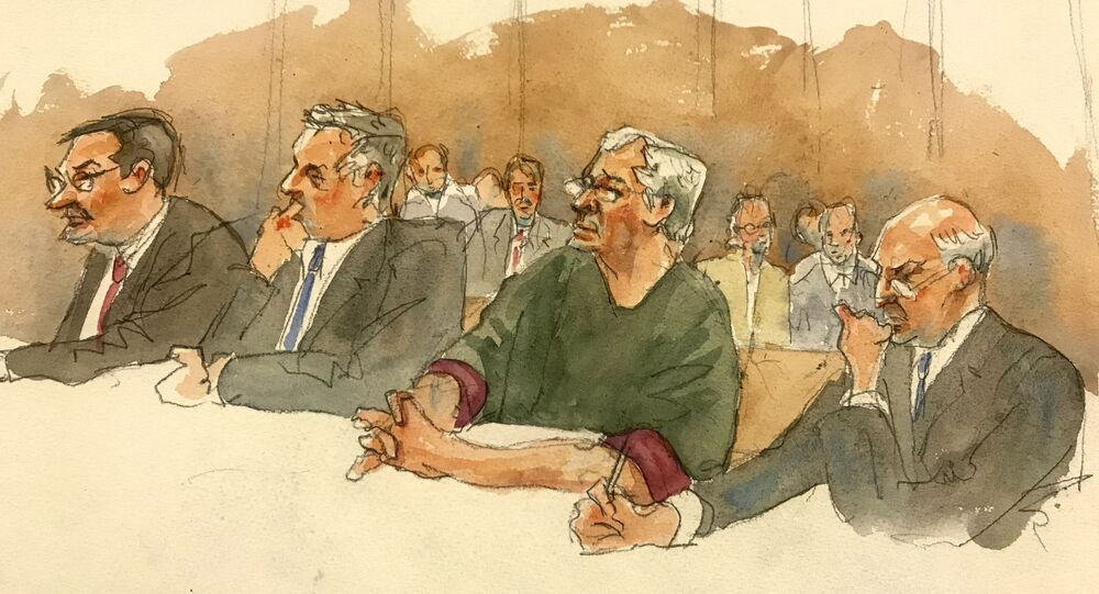 In this courtroom sketch, defendant Jeffrey Epstein, second from right, listens along with defense attorneys, from left, Marc Fernich, Michael Miller, and Martin Weinberg as Judge Richard M. Berman denies him bail during a hearing in federal court, Thursday, 18 July 2019 in New York