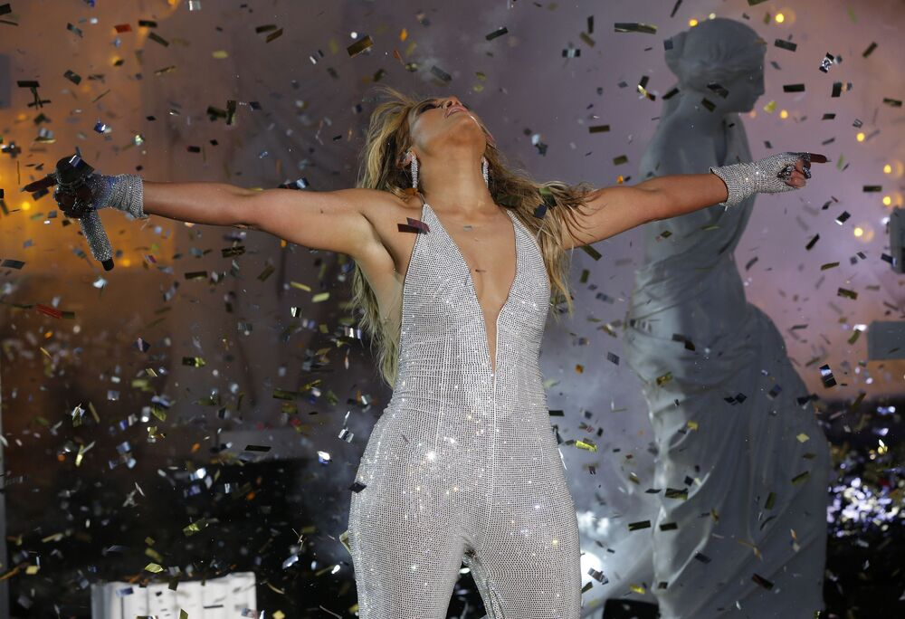 Singer Jennifer Lopez performs in Times Square during New Year's Eve celebrations on 31 December 2020 in New York City.