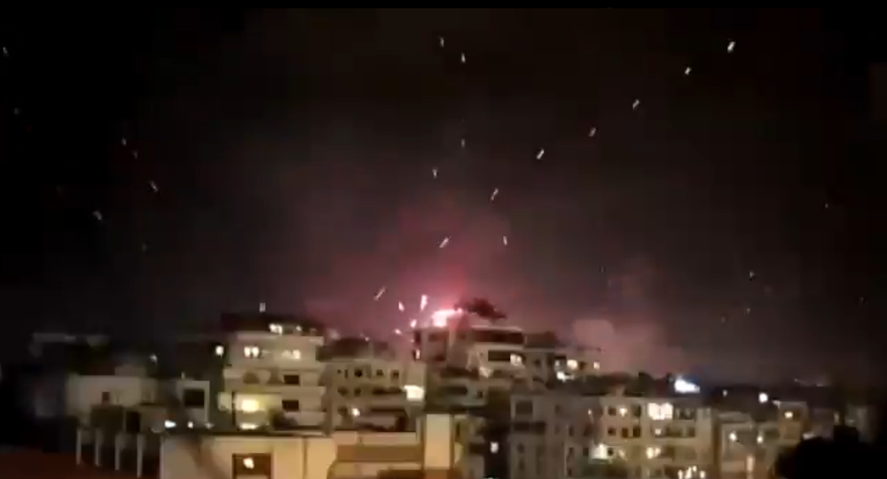Screenshot from the video revealing gunfire on New Year's Eve in Beirut, Lebanon
