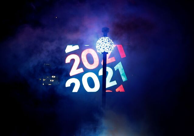 The ball is raised into place in Times Square on New Years Eve in New York City, U.S., December 31, 2020