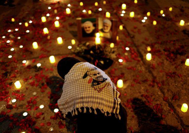 A person attends the first anniversary of the killing of senior Iranian military commander General Qassem Soleimani and Iraqi militia commander Abu Mahdi al-Muhandis in a U.S. attack, in Baghdad, Iraq, January 2, 2021