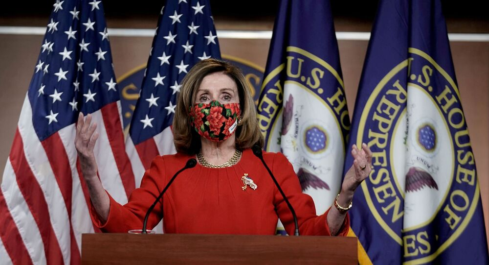 Speaker of the House Nancy Pelosi, D-CA., speaks to reporters on an agreement of a coronavirus disease (COVID-19) aid package on Capitol Hill in Washington, D.C., U.S., December 20, 2020