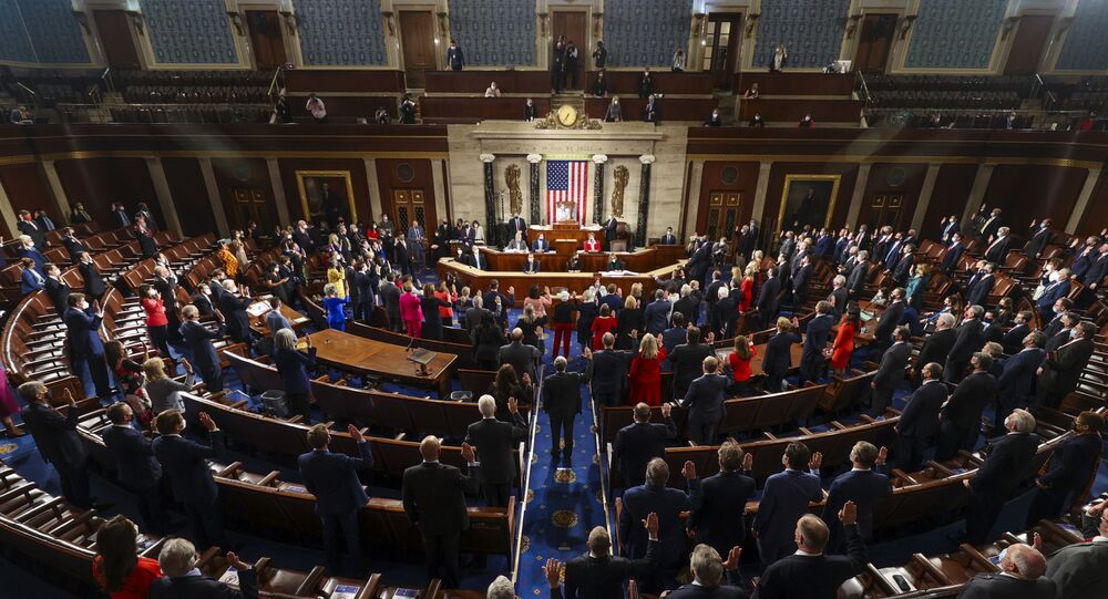 House Speaker Nancy Pelosi administers the oath of office to members of the 117th Congress at the US Capitol in Washington, 3 January 2021.