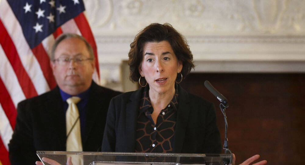 "In this Sunday, March 22, 2020, file photo, Gov. Gina Raimondo gives an update on the coronavirus during a news conference, in Providence, R.I. Many states have yet to spend the federal funding they got to help with soaring costs related to the coronavirus crisis, making it tougher for states and cities to argue that they need hundreds of billions more from U.S. taxpayers. ""If I knew today that another billion dollars was coming to Rhode Island to help solve our budget deficit, I'd spend the $1.25 billion now,"" Raimondo said about the state's portion of money. ""Lots of other governors are spending. They're taking a gamble, and I'm just not ready to do that yet."""