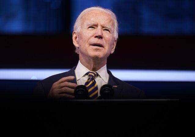 President-elect Joe Biden speaks at The Queen theater, Tuesday, Dec. 29, 2020, in Wilmington, Del.