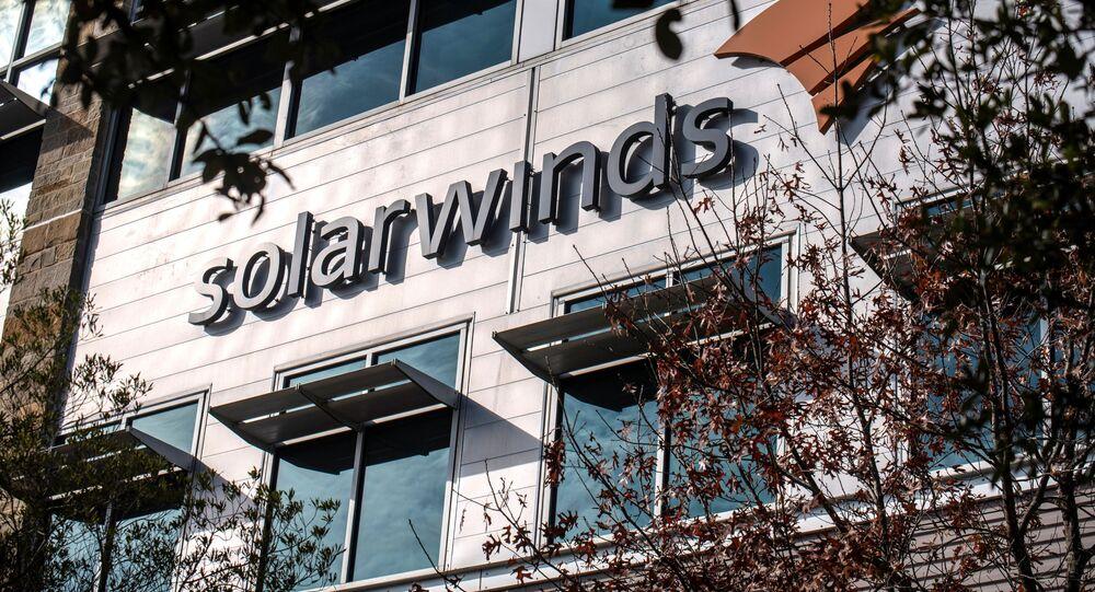 The SolarWinds logo is seen outside its headquarters in Austin, Texas, U.S., December 18, 2020.