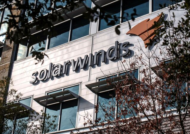 The SolarWinds logo is seen outside its headquarters in Austin, Texas, U.S., December 18, 2020.