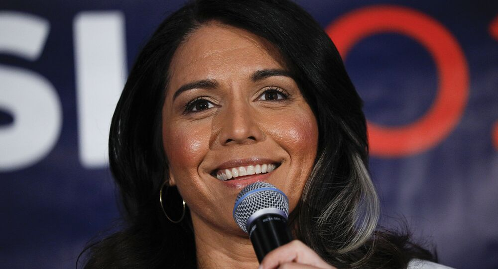 Democratic presidential candidate U.S. Representative Tulsi Gabbard (D-HI) holds a Town Hall meeting on Super Tuesday Primary night on March 3, 2020 in Detroit, Michigan.