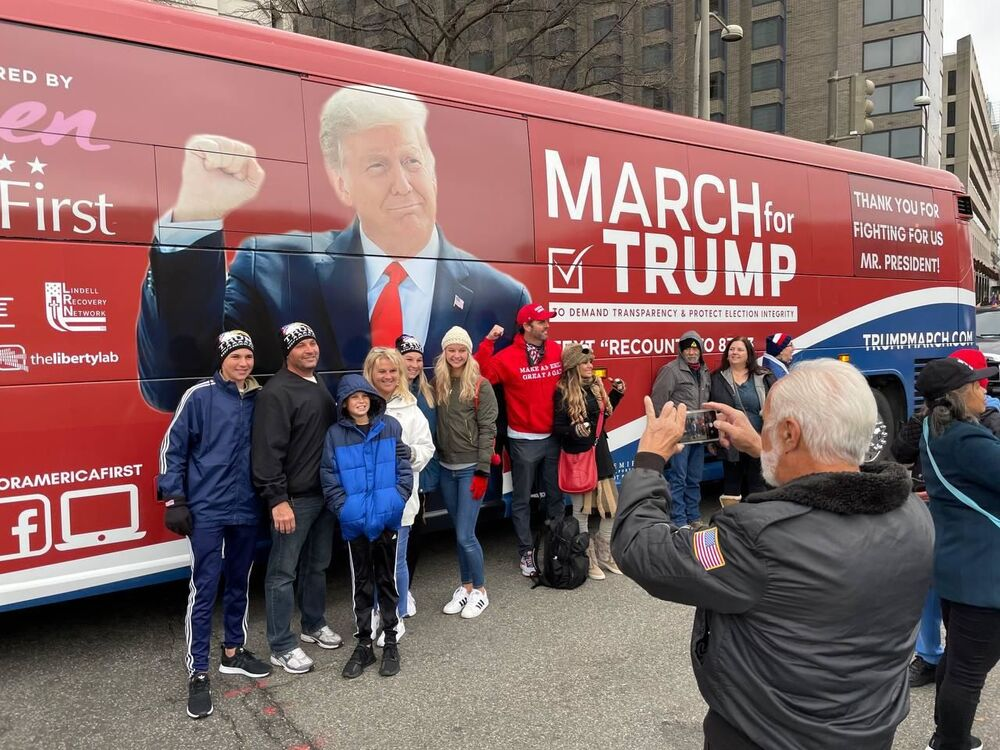 Supporters of U.S. President Donald Trump take part in a pro-Trump rally, in Washington DC. The protesters are demanding a recount of votes and a review of election results in a number of states.