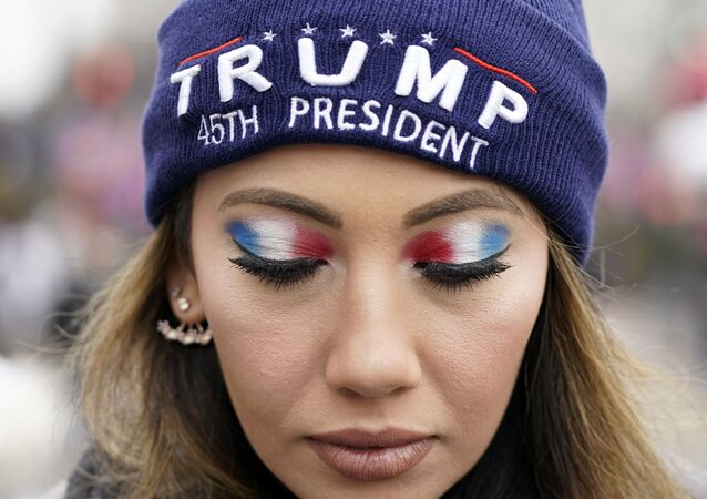 A person attends a rally at Freedom Plaza Tuesday, Jan. 5, 2021, in Washington, in support of President Donald Trump.