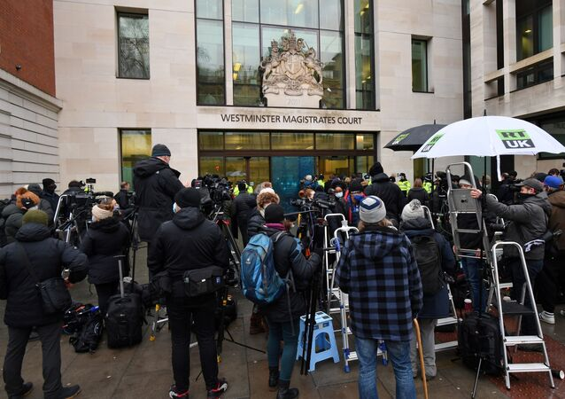 Members of the media and supporters of Wikileaks founder Julian Assange, gather outside Westminster Magistrates court in London for the bail hearing of Assange on January 6, 2021.