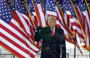 President Donald Trump arrives to speak at a rally, 6 June 2021, in Washington. (AP Photo/Jacquelyn Martin)