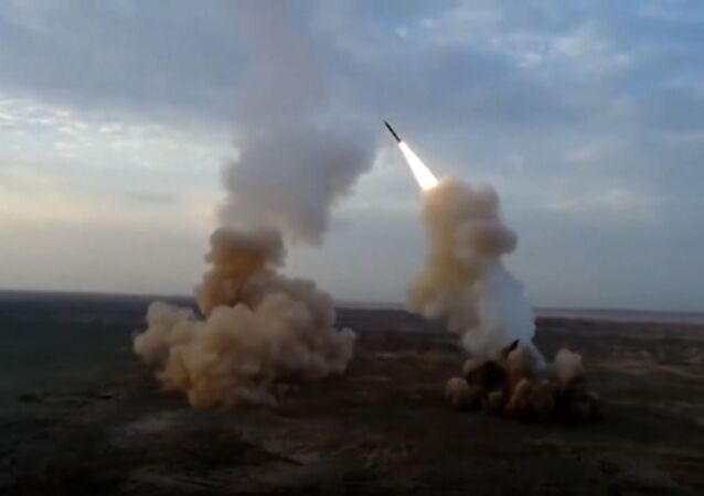 This video grab shows launching underground ballistic missiles by the Iranian Revolutionary Guard during a military exercise.