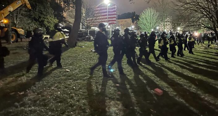Tensions have subsided in Washington, DC, as police reinforcements arrive and push Trump supporters away from the Capitol building