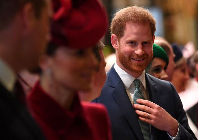 Britain's Prince Harry, Duke of Sussex (C) is introduced to performers as he leaves with Britain's Prince William, Duke of Cambridge (L) and Britain's Catherine, Duchess of Cambridge (2L) after attending  the annual Commonwealth Service at Westminster Abbey in London on March 09, 2020