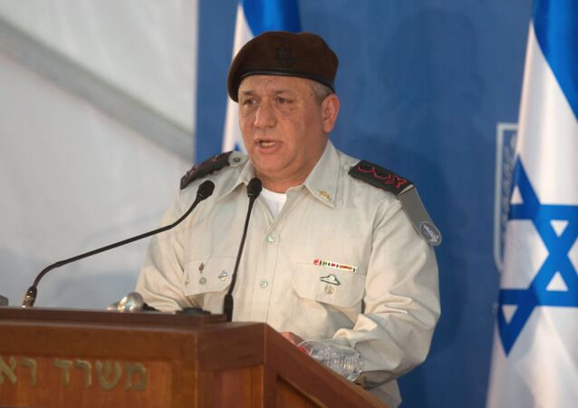 Israel's new Chief of Staff Gadi Eisenkot delivers a speech during his swearing-in ceremony at the Prime Minister's Jerusalem offices on February 16, 2015.