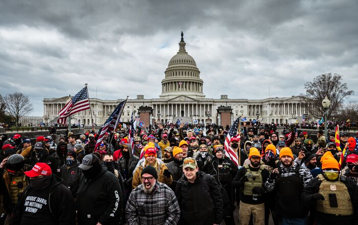 Pro-Trump protesters gather in front of the US Capitol Building on 6 January 2021 in Washington, DC. A pro-Trump mob stormed the Capitol, breaking windows and clashing with police officers.