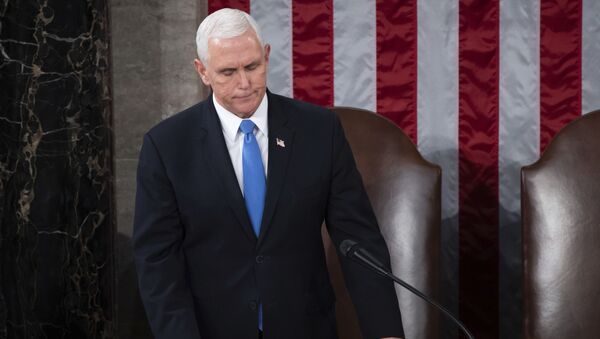 Vice President Mike Pence officiates as a joint session of the House and Senate convenes to confirm the Electoral College votes cast in November's election, at the Capitol in Washington, Wednesday, Jan. 6, 2021 - Sputnik International