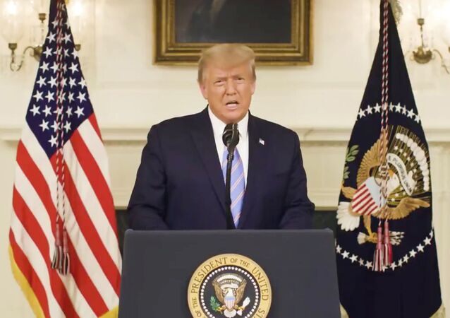 US President Donald Trump gives an address, a day after his supporters stormed the Capitol in Washington,  DC, in this still image taken from video provided on social media on  8 January 2021.