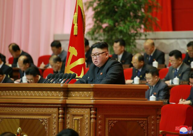North Korean leader Kim Jong Un attends the 8th Congress of the Workers' Party in Pyongyang, North Korea, in this photo supplied by North Korea's Central News Agency (KCNA) on 7 January 2021