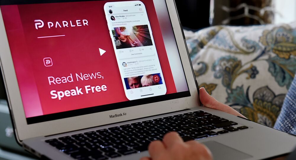 This illustration picture shows the social media website from Parler displayed on a computer screen in Arlington, Virginia on July 2, 2020.