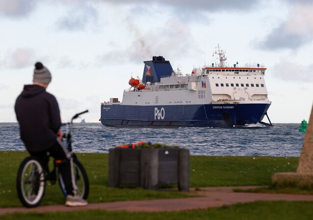 A person on a bike is seen as a ferry arrives at the Port of Larne, Northern Ireland Britain January 1, 2021