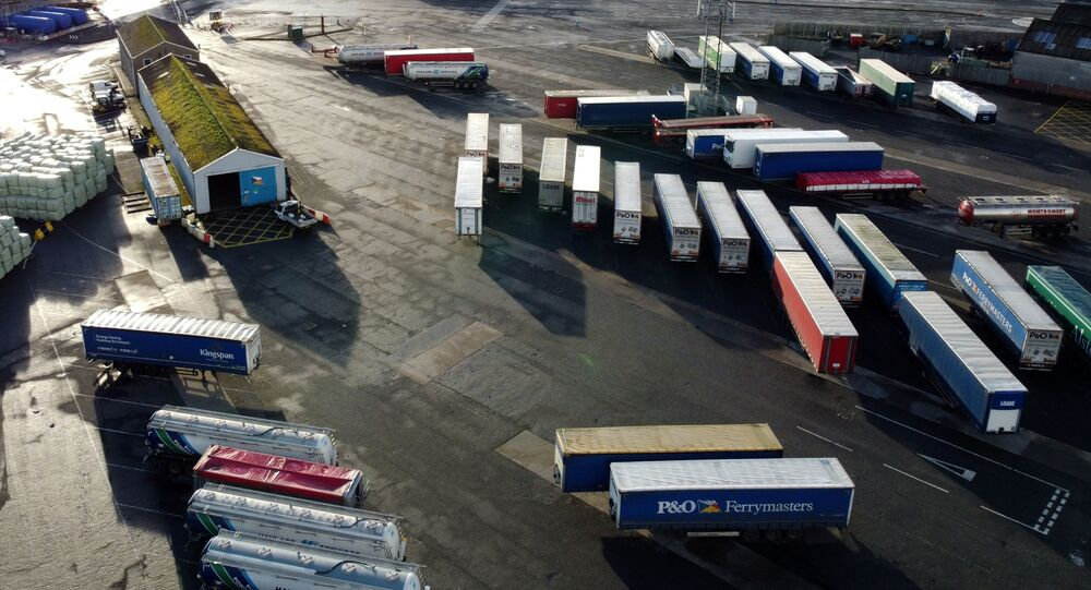 Lorry trailers are seen in the port of Larne, Larne Northern Ireland, December 30, 2020. Picture taken with a drone December 30, 2020