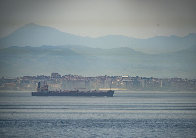 A view of the vessel the Clavel sailing on international waters crossing the Gibraltar stretch on Wednesday, 20 May 2020