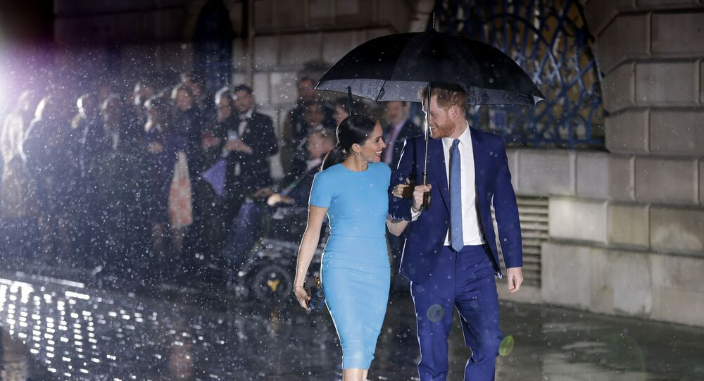 Britain's Prince Harry and Meghan, the Duke and Duchess of Sussex arrive at the annual Endeavour Fund Awards in London, Thursday, March 5, 2020.
